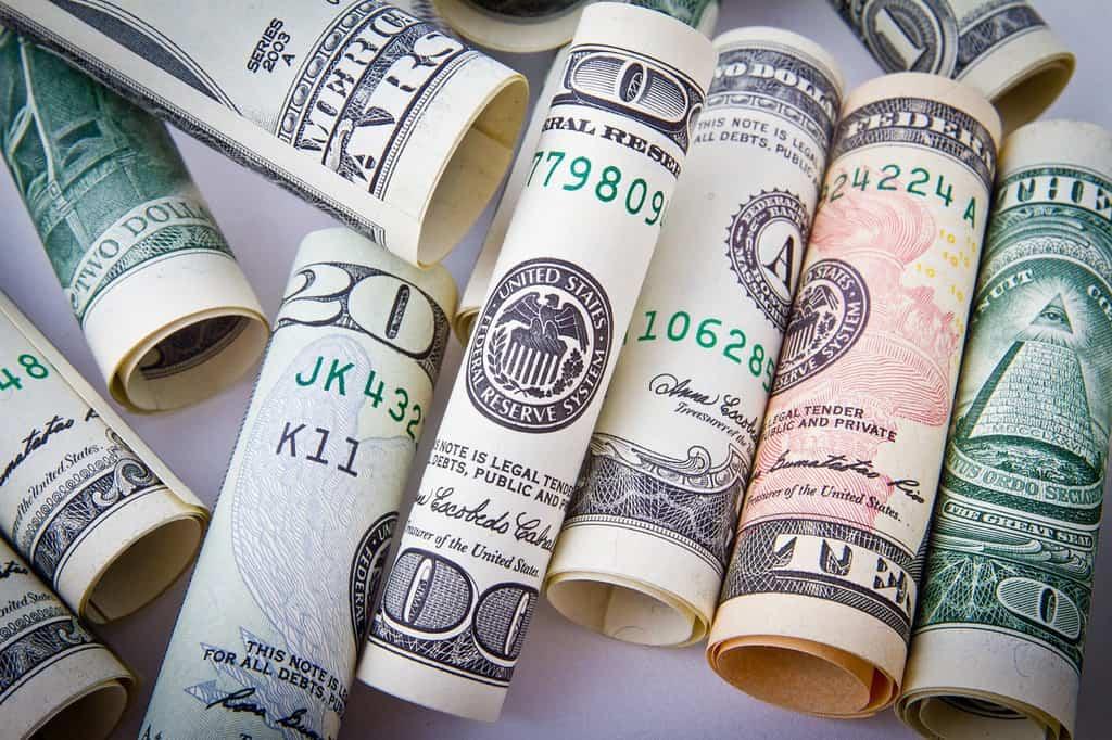 kilka zwiniętych dolarów