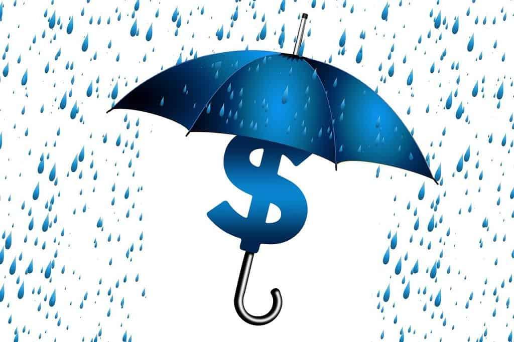 parasolna osłaniająca przed kroplami deszczu symbol dolara